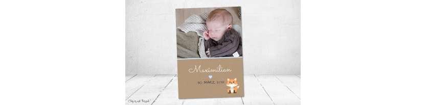 Dankeskarten Geburt Vintage Kraftpapier Fuchs Junge