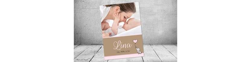 Dankeskarten Geburt Vintage Kraftpapier Mädchen rosa Elefant