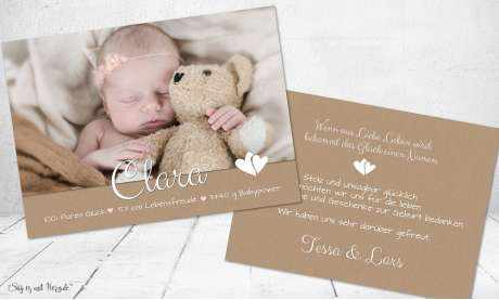 Dankeskarten Geburt Vintage Kraftpapier Mädchen Herz