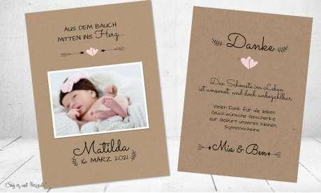 Dankeskarten Geburt Vintage Kraftpapier modern Naturpapier Postkarte