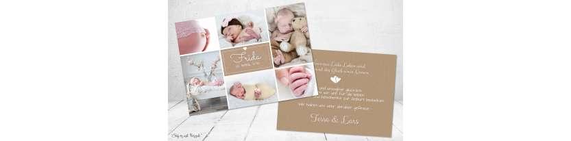 Dankeskarten Geburt Vintage Kraftpapier viele Fotos