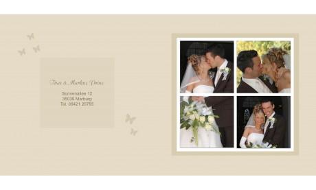 """Karte, Danksagungskarte Hochzeit """"Schmetterling"""", Klappkarte Quadrat, beige"""