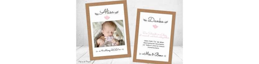 Dankeskarten Geburt Vintage Kraftpapier Herz rosa