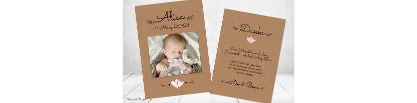 Dankeskarten Geburt Vintage Kraftpapier modern Herz Naturpapier Postkarte