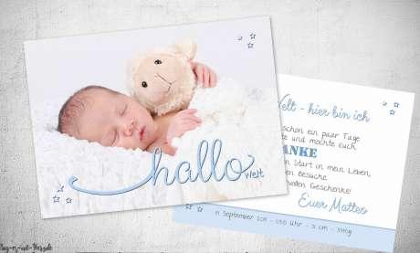 Vintage Dankeskarten Baby Geburt Hallo Welt