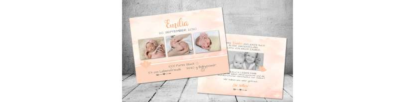 Vintage Dankeskarten Baby Geburt Aquarell Apricot