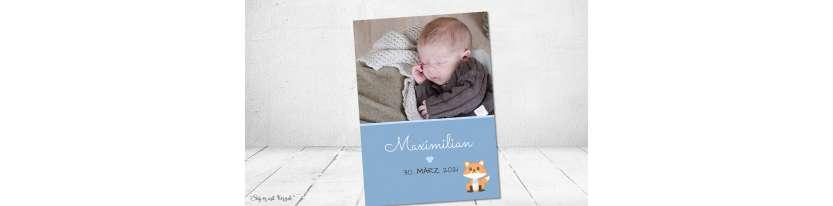 Vintage Dankeskarten Baby Geburt Junge Fuchs