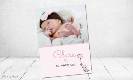 Vintage Dankeskarten Baby Geburt Mädchen Elefant