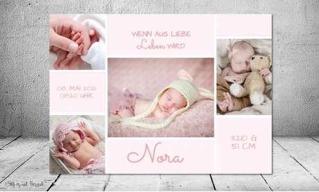 Vintage Dankeskarten Baby Geburt Mädchen