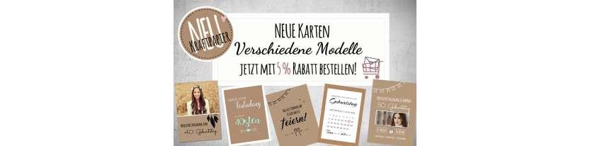 Einladungskarten Geburtstag Vintage Kraftpapier runder Geburtstag 30. 40.