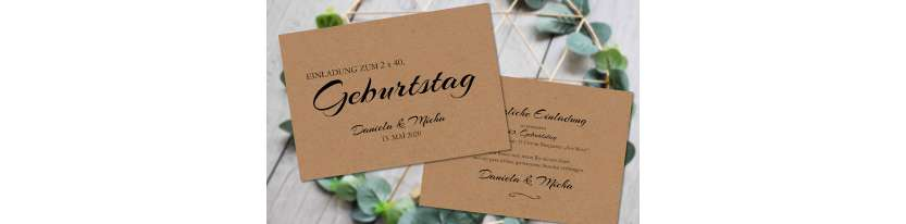 Einladungskarten Geburtstag Vintage Kraftpapier runder Geburtstag ohne Foto 30. 40.