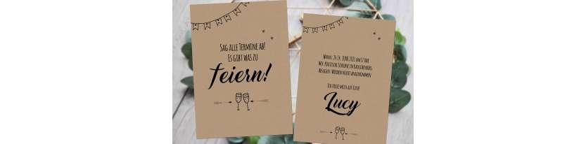 Einladungskarten Geburtstag Vintage Kraftpapier Wimpel runder Geburtstag ohne Foto 30. 40.