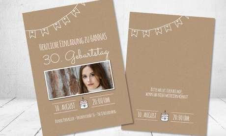 Einladungskarten Geburtstag Vintage Kraftpapier mit Foto runder Geburtstag 30. 40.