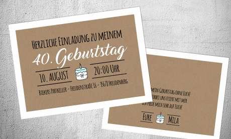 Einladungskarten Geburtstag Vintage Kraftpapier ohne Foto runder Geburtstag 30. 40.