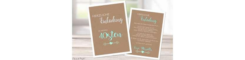 Einladungskarten Geburtstag ohne Foto Vintage Kraftpapier runder Geburtstag 30. 40.
