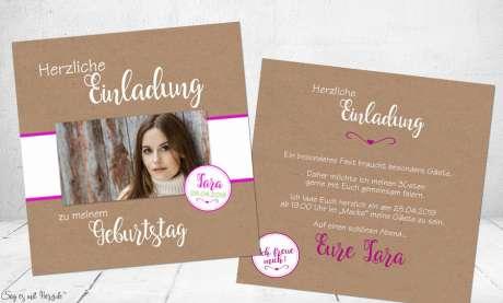 Einladungskarten Geburtstag Vintage Kraftpapier quadratisch runder Geburtstag 30. 40.