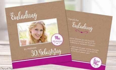 Einladungskarten Geburtstag Vintage Kraftpapier Quadrat runder Geburtstag 30. 40.