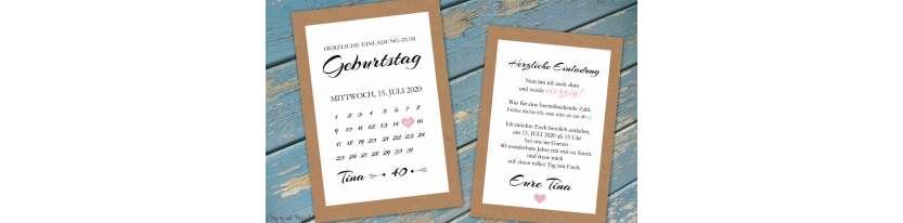 Einladungskarten Geburtstag Vintage Kraftpapier Kalender Postkarte runder Geburtstag 30. 40.