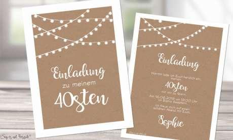 Einladungskarten Geburtstag Vintage Kraftpapier Postkarte 40. Geburtstag