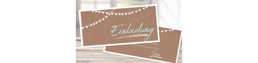 Einladungskarten runder Geburtstag Vintage Kraftpapier