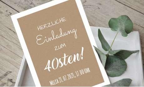 Einladungskarten 40. Geburtstag Vintage Kraftpapier