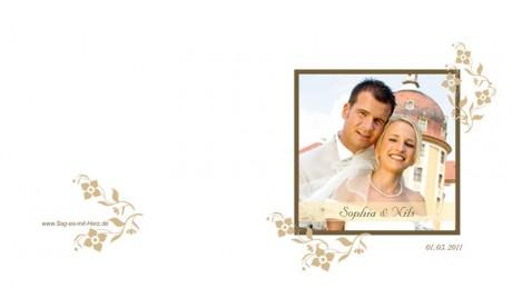 """Karte, Danksagungskarte Hochzeit """"Blumenranke"""", Klappkarte Quadrat, beige"""