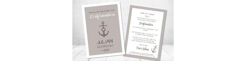 Einladungskarten Konfirmation Anker modern Postkarte taupe
