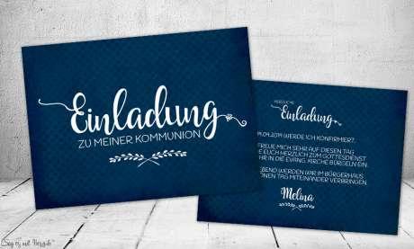 Einladungskarten Konfirmation dunkelblau Postkarte modern