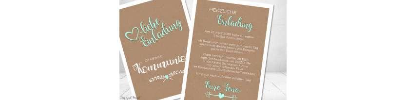 Einladungskarten Kommunion Kraftpapier Vintage Stil modern Postkarte