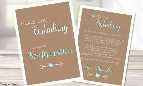 Einladungskarten Konfirmation Kraftpapier Vintage Stil modern Postkarte
