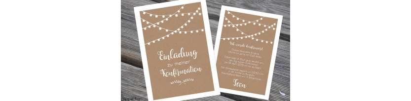 Einladungskarten Konfirmation Vintage Stil Kraftpapier Wimpel modern Postkarte