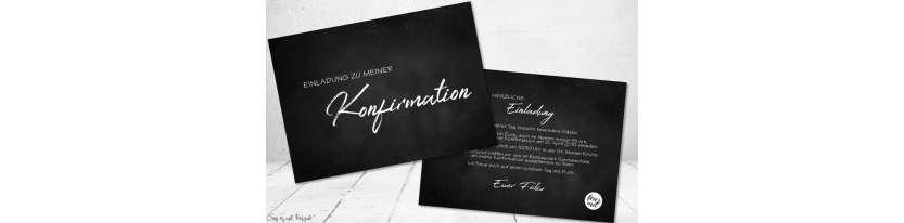 Einladungskarten Konfirmation Vintage Stil Tafellook Wimpel modern Postkarte