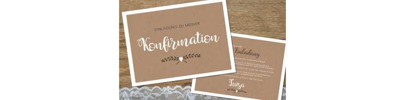 Einladungskarten Konfirmation ohne Foto Vintage Stil Kraftpapier modern Postkarte