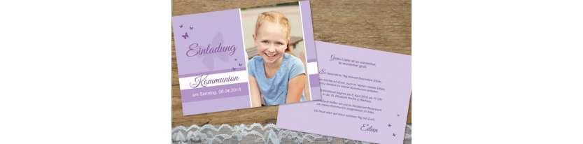 Einladungskarten Kommunion flieder mit Foto Schmettering Postkarte