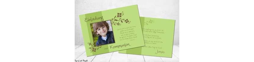 Einladungskarte Kommunion mit Foto Postkarte Junge