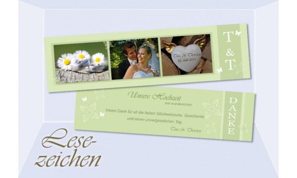 """Danksagung Hochzeit, Lesezeichen / Karte """"Blütenfrisch"""", grün"""
