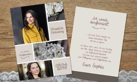 Einladungskarten Konfirmation modern Postkarte mit Foto Vintage Stil