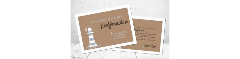 Einladungskarten Konfirmation Leuchtturm Vintage Stil Kraftpapier ohne Foto Postkarte