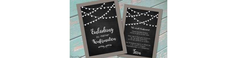 Einladungskarten Kommunion Vintage Stil Tafellook Wimpel modern Postkarte Konfirmation