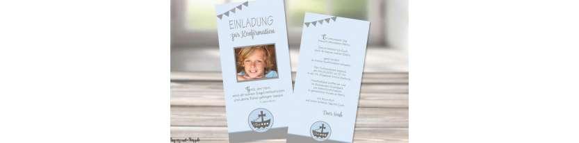 Einladungskarten Kommunion mit Foto Wimpel Motto Boot Schiff Junge Vintage