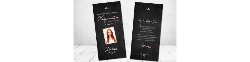 Einladungskarten Konfirmation Vintage Stil Tafellook modern Postkarte mit Foto Mädchen