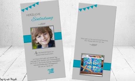 Einladungskarten Kommunion mit Foto Postkarte türkis grau modern Wimpel