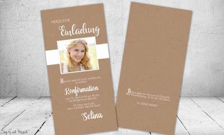 Einladungskarten Konfirmation Vintage Stil naturell Kraftpapier mit Foto Mädchen
