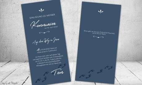 Einladungskarten Konfirmation Fußspuren ohne Foto dunkelblau Junge