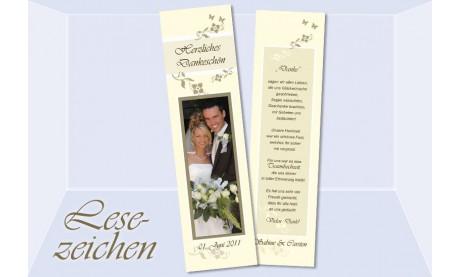 """Danksagung Hochzeit, Lesezeichen / Karte """"Blumenranke"""", creme"""