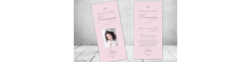 Einladungskarten Kommunion Mädchen rosa modern