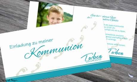 Einladungskarten Kommunion Fußspuren Weg mit Jesus türkis