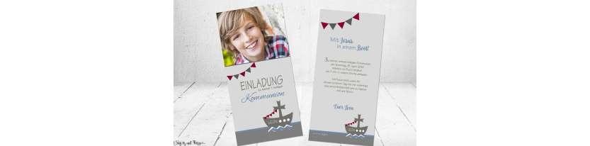 Einladungskarten Kmmunion Boot Schiff Motto modern Wimpel