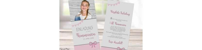 Einladungskarten Kommunion mit Foto rosa grau Mädchen modern