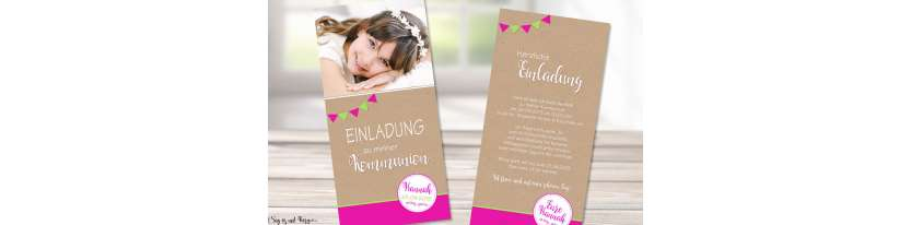 Einladungskarten Konfirmation Vintage Stil naturell Kraftpapier mit Foto Mädchen pink Wimpel